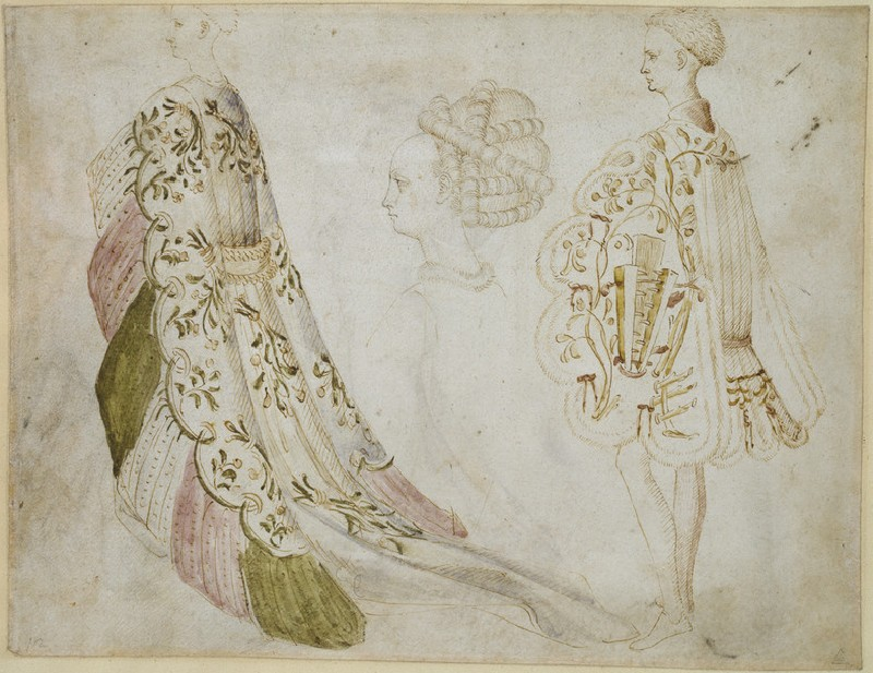 Recto: Studies of Costume  <br />Verso: Two Bacchantes after the Antique