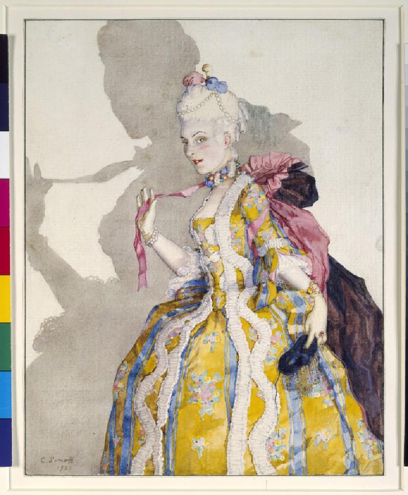 Design for a Costume of a Marquise for the ballerina Tamara Karsavina