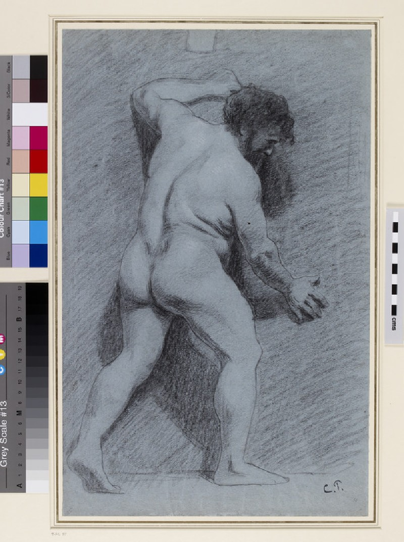Study of a male Nude posed against a Wall seen in profile facing right (WA1952.6.56)