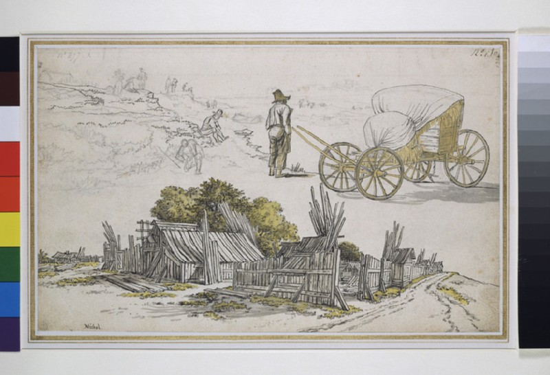 Recto: Studies of a timber yard, a hay wagon, and figures on a road