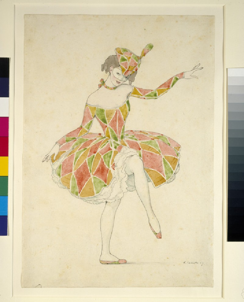 Design for Anna Pavlova's Costume of Columbine in 'Arlequinade' (WA1960.36.17)