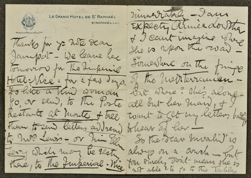 Letter from Ellen Terry to Lizzie Potton: 'Thanks for your note dear Jampot' (WA1967.42.18)