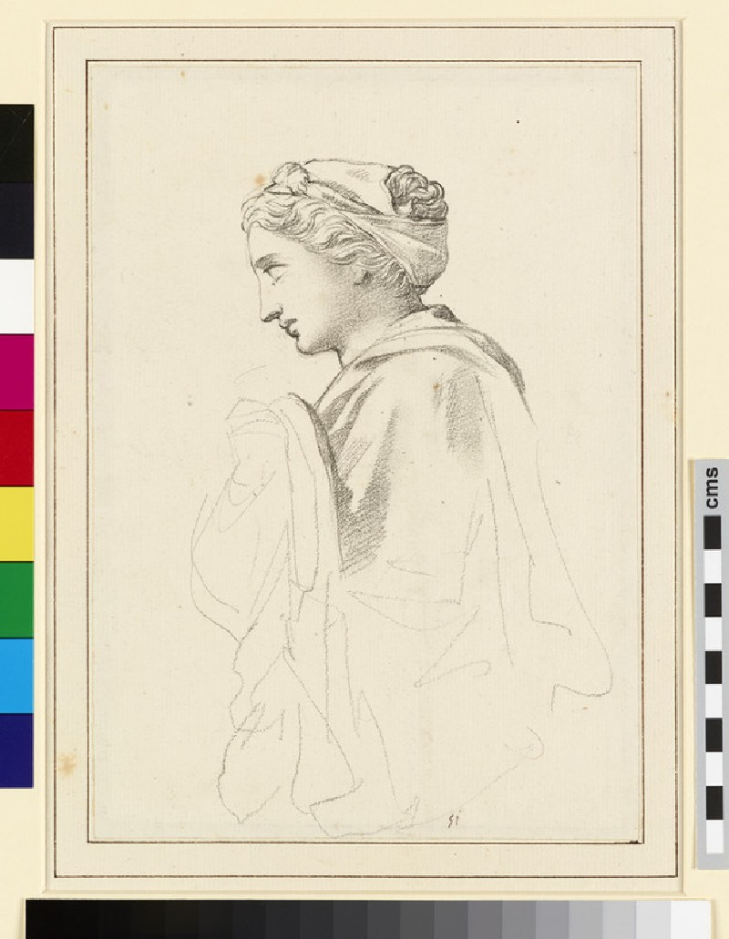 Study of a sculpted Head and upper draped Torso of a Woman in Profile (WA1990.129)