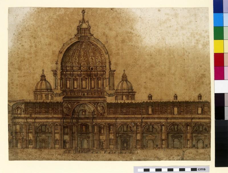 Longitudinal section of the Basilica of Saint Peter, Rome (WA2003.Douce.4806)