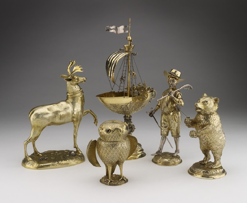 Ewer with monstrous figures, acrobats, a sphinx like figure, and the royal arms of Portugal