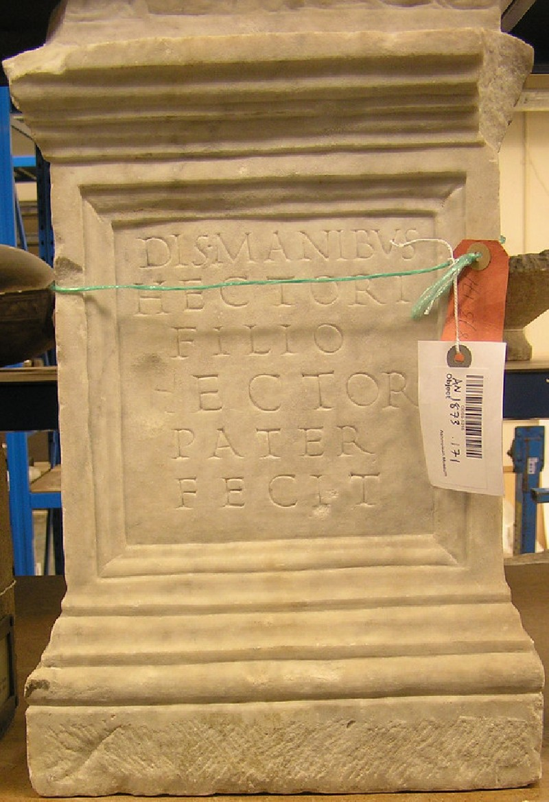 Funerary altar with Latin inscription (AN1873.171, AN.1873.171, record shot)