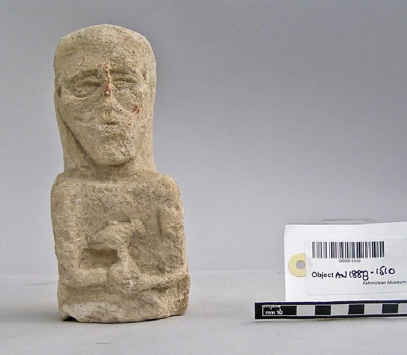 Limestone upper part of bearded votary, votive-figure