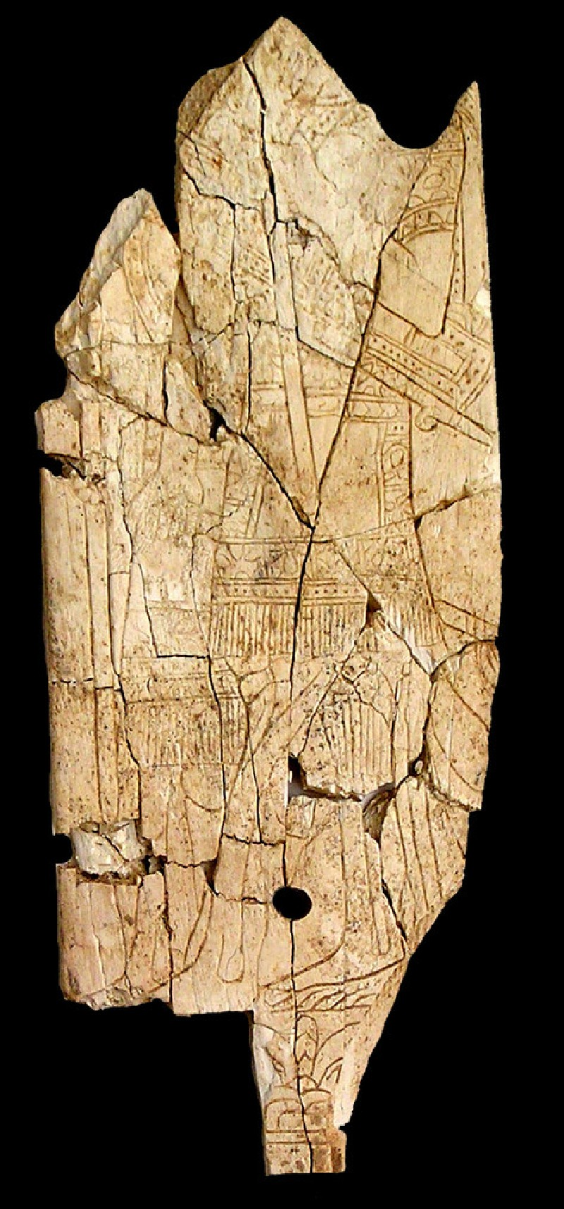 Ivory plaque depicting two Assyrians in short kilts (AN1954.717, AN.1954.717, record shot)