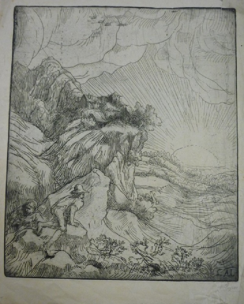 Two peasants in a mountainous landscape looking into a valley with a rising sun